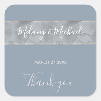 Minimalist dusty blue watercolor stripe Thank you Square Sticker