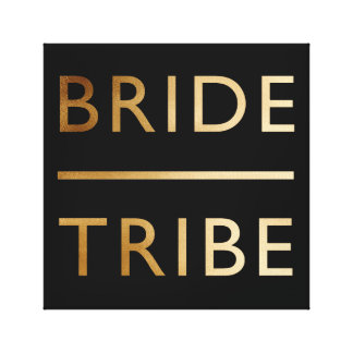 minimalist elegant bride tribe faux gold text canvas print