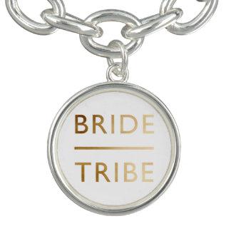minimalist elegant bride tribe faux gold text charm bracelets