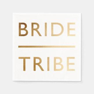 minimalist elegant bride tribe faux gold text disposable napkins