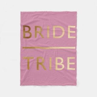 minimalist elegant bride tribe faux gold text fleece blanket