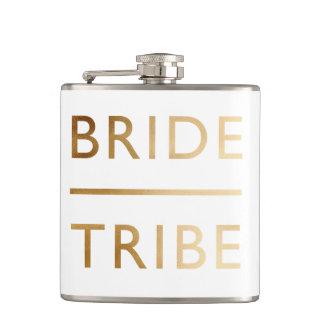 minimalist elegant bride tribe faux gold text hip flask