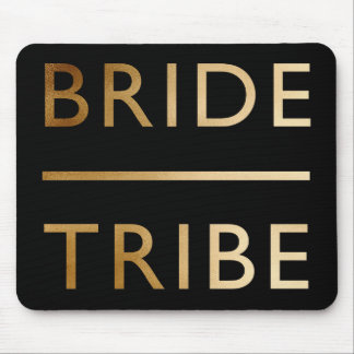 minimalist elegant bride tribe faux gold text mouse pad