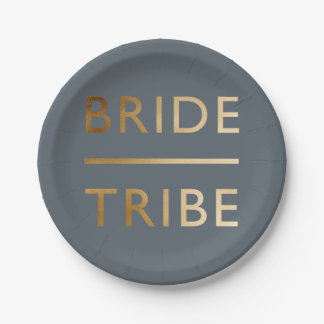 minimalist elegant bride tribe faux gold text paper plate