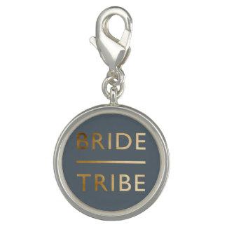 minimalist elegant bride tribe faux gold text photo charms