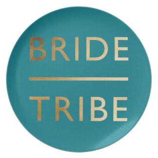 minimalist elegant bride tribe faux gold text plate