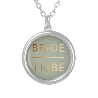 minimalist elegant bride tribe faux gold text silver plated necklace