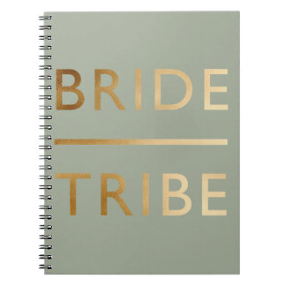 minimalist elegant bride tribe faux gold text spiral notebook