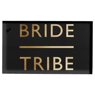 minimalist elegant bride tribe faux gold text table card holder