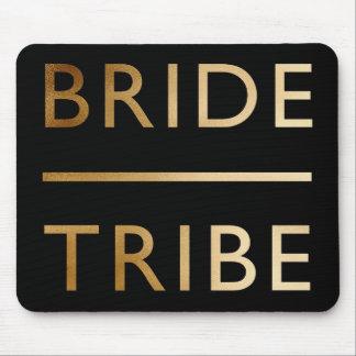 minimalist elegant bride tribe gold foil text mouse pad