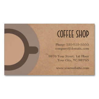 Minimalist Elegant Brown Coffee Shop Magnetic Business Card
