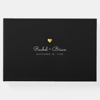minimalist elegant chic black wedding guest book