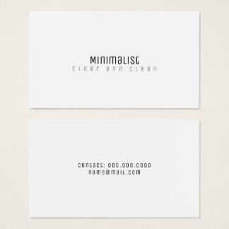 minimalist elegant clean & clear white business card