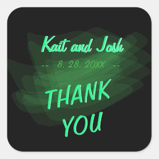 Minimalist Elegant Emerald Green Mint Thank You Square Sticker