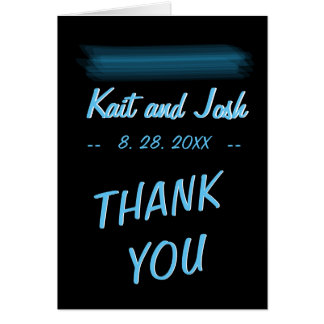 Minimalist Elegant Glowing Gothic Wed Thank You Card