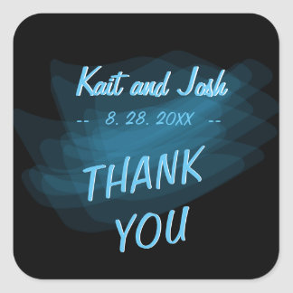 Minimalist Elegant Glowing Gothic Wed Thank You Square Sticker