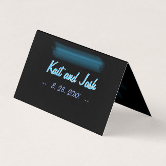 Minimalist Elegant Glowing Gothic Wedding Seating Place Card