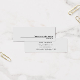 Minimalist Elegant Line Attorney at Law Office Mini Business Card