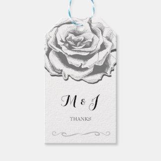 Minimalist Elegant Vintage Rose Monogram Gift Tags