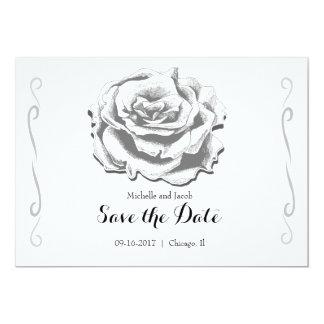Minimalist Elegant Vintage Rose Save the Date Card