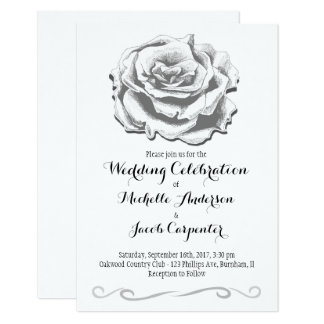 Minimalist Elegant Vintage Rose Wedding Invitation