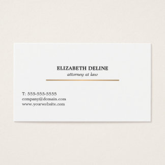 Minimalist Elegant White Faux Gold Line Attorney Business Card
