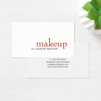 Minimalist Elegant White Red Makeup Artist Business Card