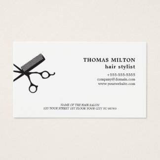 Minimalist Elegant White Scissors Comb Hairstylist Business Card