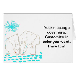 Minimalist Elephant and Hippo - Aqua and White Greeting Card