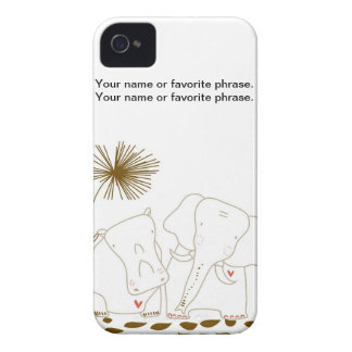 Minimalist Elephant and Hippo - Brown and White iPhone 4 Case