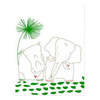 Minimalist Elephant and Hippo - Green and White Postcard