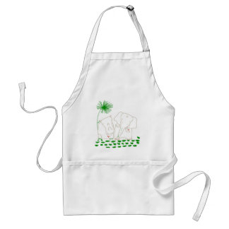 Minimalist Elephant and Hippo - Green and White Standard Apron