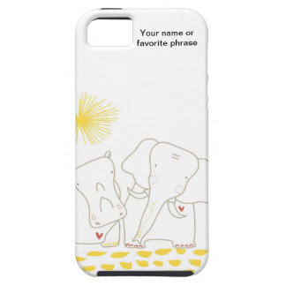 Minimalist Elephant and Hippo - Yellow and White iPhone 5 Cases