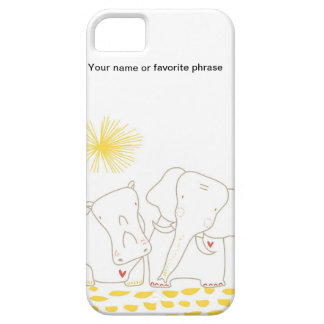 Minimalist Elephant and Hippo - Yellow and White iPhone 5 Case