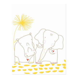 Minimalist Elephant and Hippo - Yellow and White Postcard