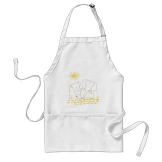 Minimalist Elephant and Hippo - Yellow and White Standard Apron