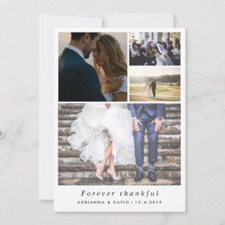 Minimalist Forever Thankful Couple Photo Wedding Thank You Card