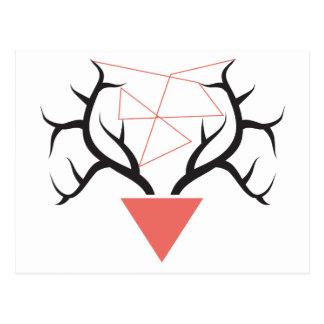 Minimalist Geometric Deer Antlers Postcard