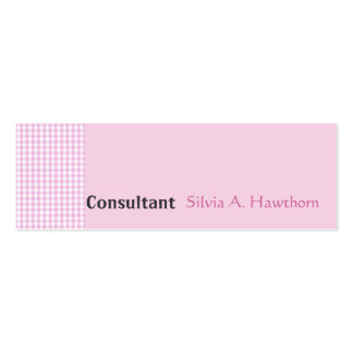 Minimalist Gingham Retro & Solid Girly Pink Mini Business Card
