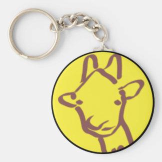 minimalist Giraffe Drawing Basic Round Button Keychain