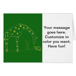 Minimalist Giraffe - Green Greeting Card