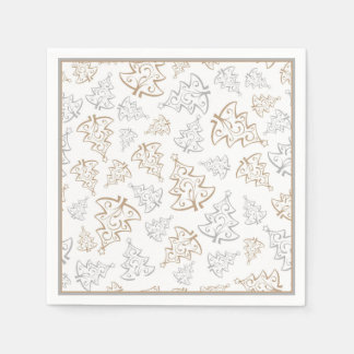 Minimalist Gold and Silver Christmas Tree Pattern Disposable Napkins