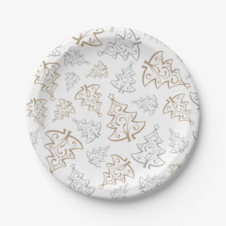 Minimalist Gold and Silver Christmas Tree Pattern Paper Plate