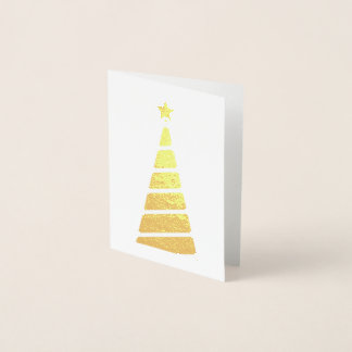 Minimalist Gold Christmas Tree Foil Card