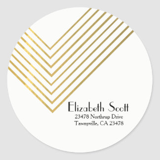 Minimalist Gold Geometric Design Return Address Round Sticker