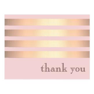 Minimalist Gold Metallic Striped Postcard