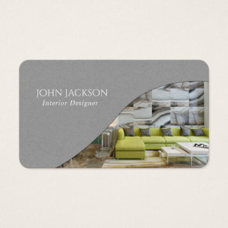Minimalist Gray Interior Design Business Card