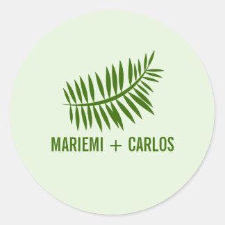 Minimalist Green Fern Leaves Classic Round Sticker