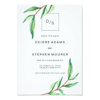 """Minimalist Green Leaves on White Save the Date 5"""" X 7"""" Invitation Card"""