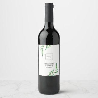 Minimalist Green Leaves on White Wedding Wine Label